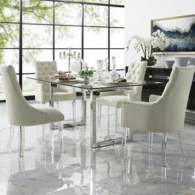 Inspired Home Set of 2 Winona Linen Acrylic Leg Armless Dining Chairs