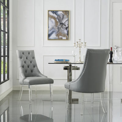 Inspired Home Set of 2 Winona PU Leather Acrylic Leg Armless Dining Chairs