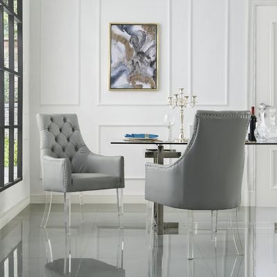 Inspired Home Set of 2 Winona PU Leather Acrylic Leg Square Arm Dining Chairs