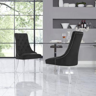 Inspired Home Set of 2 Winona Velvet Acrylic Leg  Armless Dining Chairs