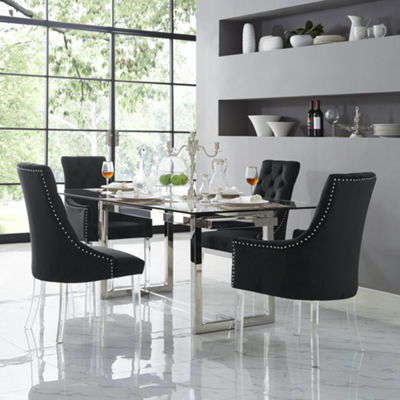 Inspired Home Set of 2 Winona Velvet Acrylic Leg Square Arm Dining Chairs