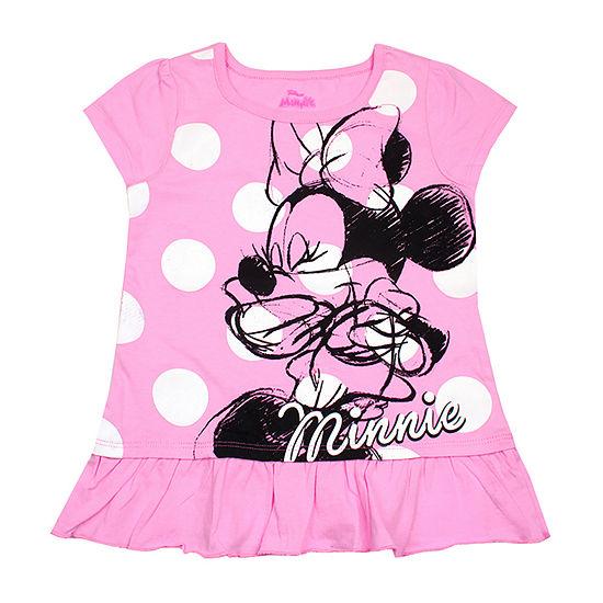 Disney Girls Round Neck Short Sleeve Minnie Mouse Graphic T-Shirt-Toddler