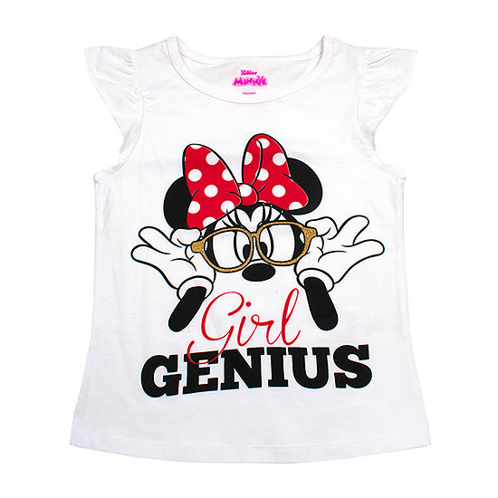 Disney License Tees Girls Crew Neck Short Sleeve Minnie Mouse Graphic T-Shirt-Toddler