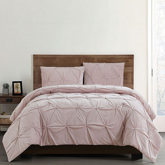 Truly Soft Pleated Velvet 3-pc. Solid Duvet Cover Set