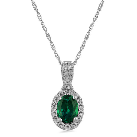 Womens Lab Created Green Emerald Sterling Silver Pendant Necklace
