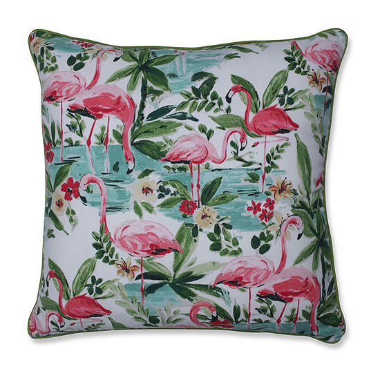 Pillow Perfect Floridian Flamingo Bloom Square Throw Pillow