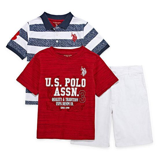 U.S. Polo Assn. Boys 3-pc. Short Set Preschool