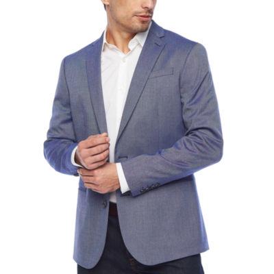 JF J.Ferrar Blue Texture Slim Fit Sport Coat