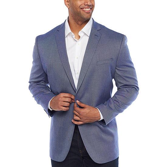 JF J.Ferrar Blue Texture Classic Fit Sport Coat - Big and Tall