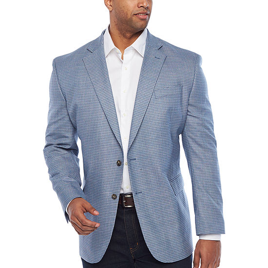 Stafford Year Round Stretch Light Blue Grid Classic Fit Sport Coat - Big and Tall