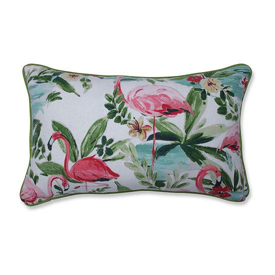 Pillow Perfect Floridian Flamingo Bloom Rectangular Throw Pillow