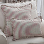 Pillow Perfect Harlow Stripe Blush Square Throw Pillow