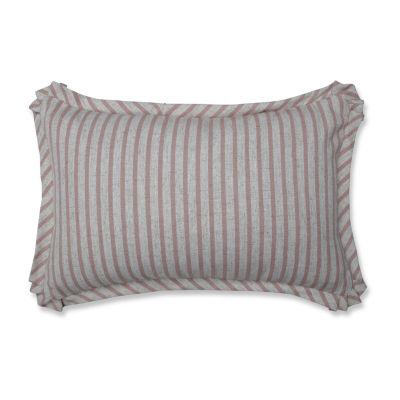 Pillow Perfect Harlow Stripe Blush Rectangular Throw Pillow