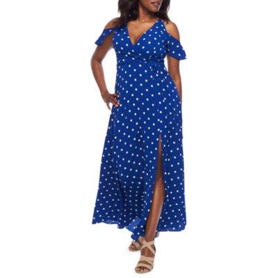 Premier Amour Short Sleeve Cold Shoulder Polka Dots Maxi Dress