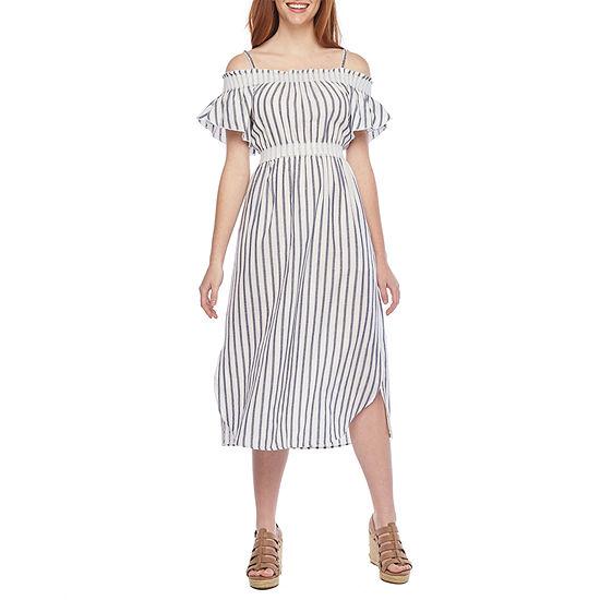 Vivi By Violet Weekend Cold Shoulder Striped Fit & Flare Dress