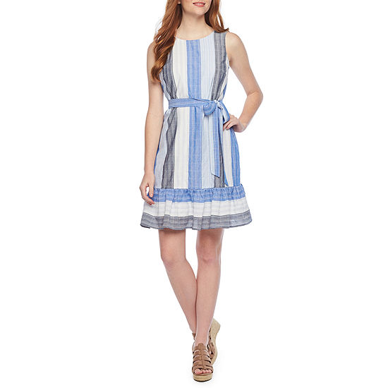 Vivi By Violet Weekend Sleeveless Striped Fit & Flare Dress