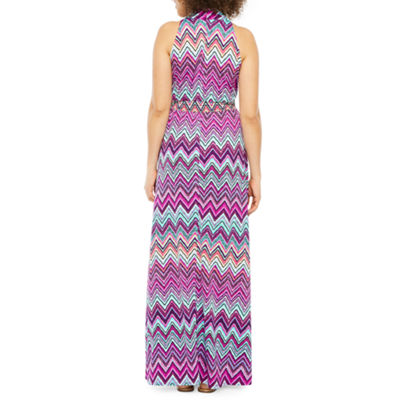 Danny & Nicole Sleeveless Chevron Maxi Dress
