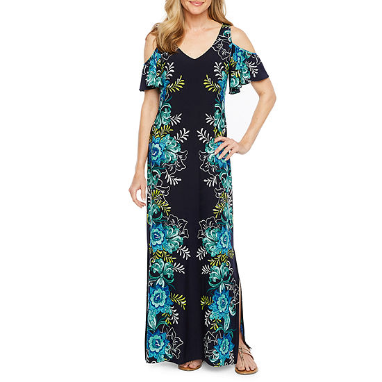 MSK Short Sleeve Cold Shoulder Floral Puff Print Maxi Dress