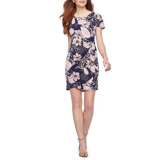 Robbie Bee Short Sleeve Floral Midi Sheath Dress