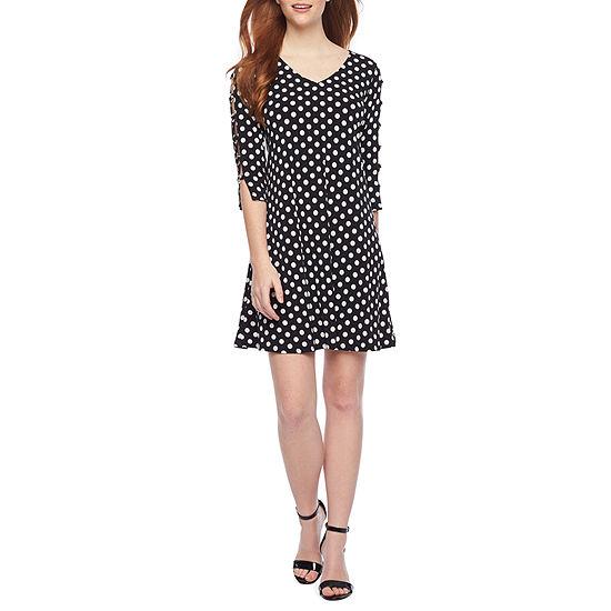 MSK 3/4 Sleeve Dots Shift Dress
