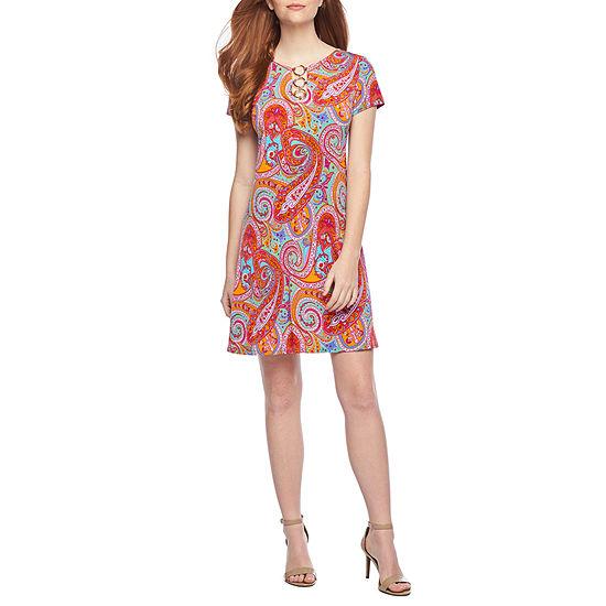 MSK Short Sleeve Midi Paisley Shift Dress
