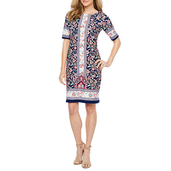 R & K Originals Short Sleeve Floral Shift Dress