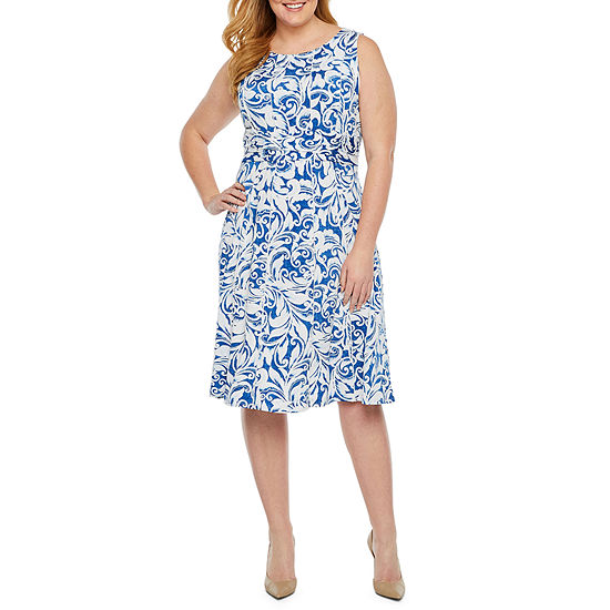 Perceptions Sleeveless Puff Print Sheath Dress-Plus