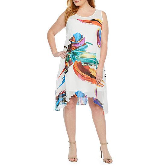 492f9cc334287 Robbie Bee Sleeveless Trapeze Dress-Plus - JCPenney