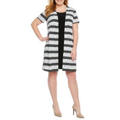 Perceptions Short Sleeve Puff Print Faux Jacket Dress-Plus