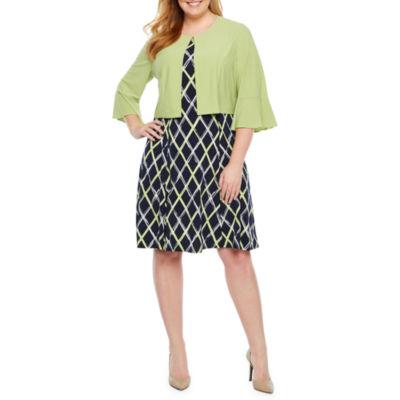 Perceptions 3/4 Bell Sleeve Puff Print Jacket Dress-Plus