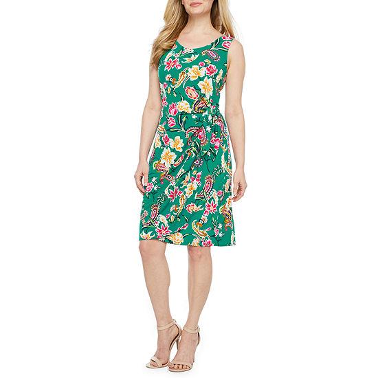 Robbie Bee Sleeveless Floral Puff Print Sarong Sheath Dress-Petite
