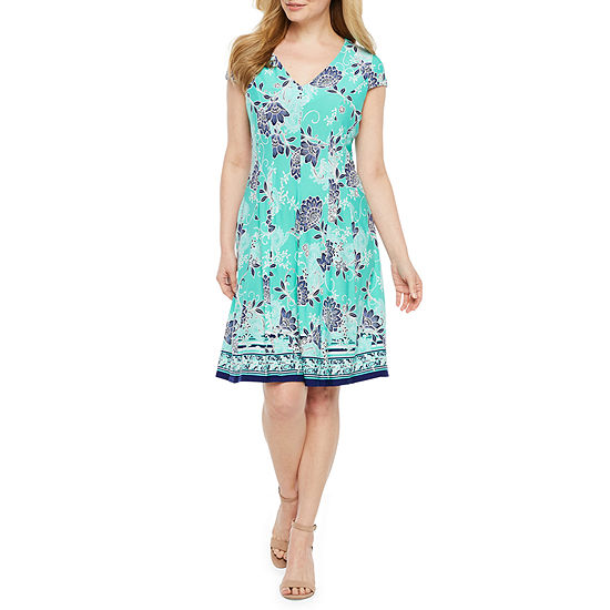 Studio 1 Short Sleeve Floral Puff Print Fit & Flare Dress-Petite