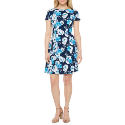 Alyx Short Sleeve Floral Fit & Flare Dress-Petite