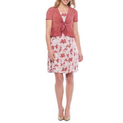 Perceptions Short Sleeve Floral Puff Print Jacket Dress-Petite