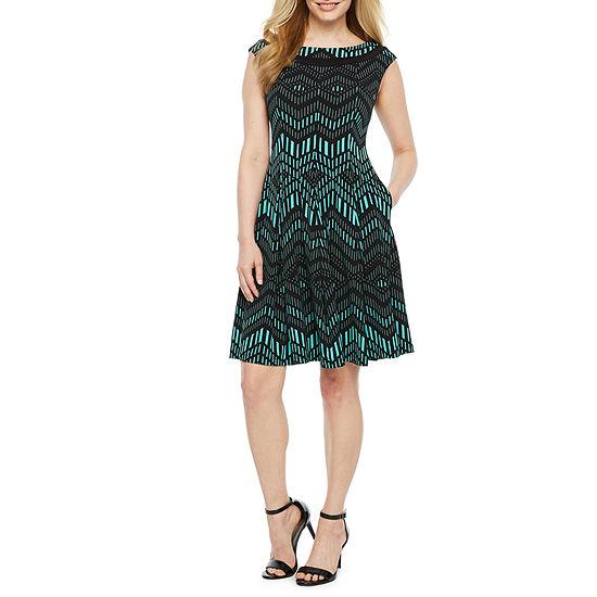 Danny & Nicole Sleeveless Chevron Fit & Flare Dress-Petite
