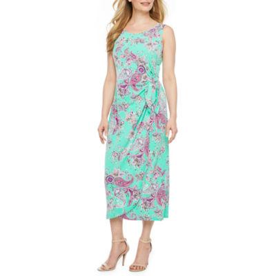 Robbie Bee Sarong Sleeveless Paisley Maxi Dress-Petite