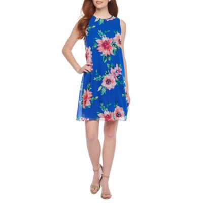 Jessica Howard Sleeveless Floral Swing Dresses-Petite