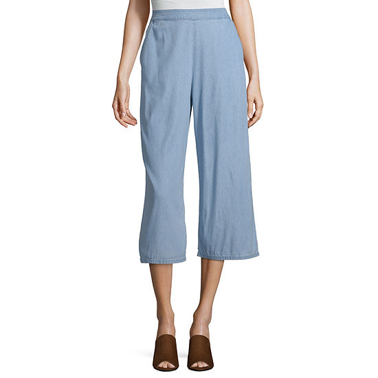 Arizona Wide Leg Pull-On Pants-Juniors