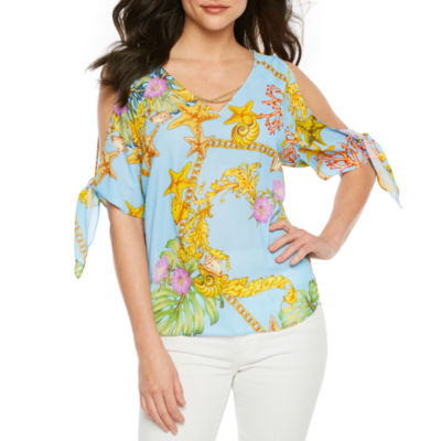 Bold Elements Womens V Neck 3/4 Sleeve Blouse