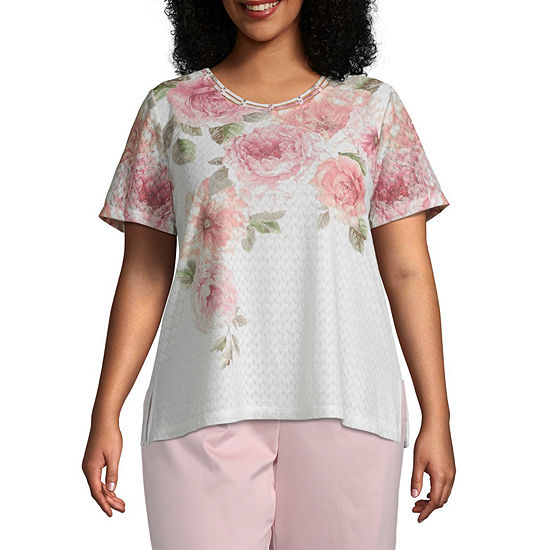 Alfred Dunner Plus Society Page-Womens Round Neck Short Sleeve T-Shirt