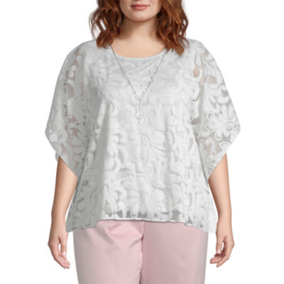 Society Page Alfred Dunner Scroll Layered Blouse - Plus