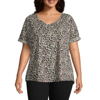 a.n.a Short Sleeve Leopard Print Boyfriend Tee - Plus