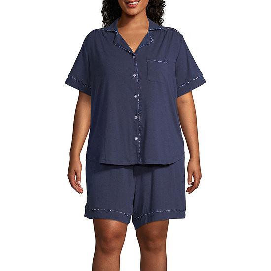 Liz Claiborne Womens Short Sleeve Shorts Pajama Set 2-pc - Plus