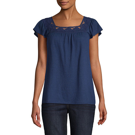 St. John's Bay Crochet Linen Top - Tall