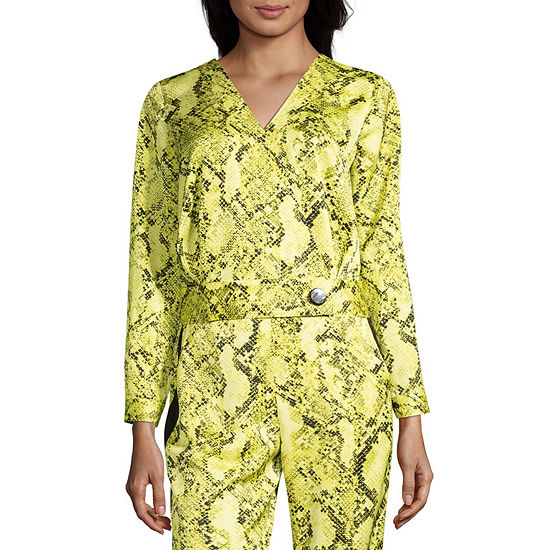 Worthington Womens V Neck Long Sleeve Wrap Shirt