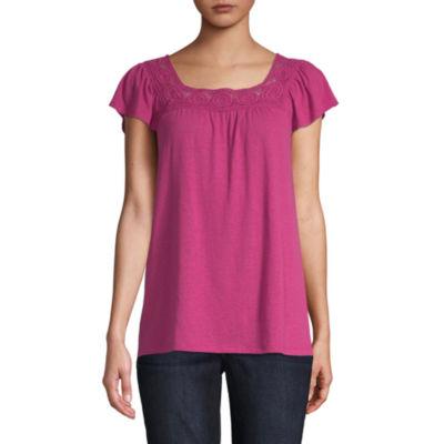 St. John's Bay Womens Square Neck Short Sleeve Blouse