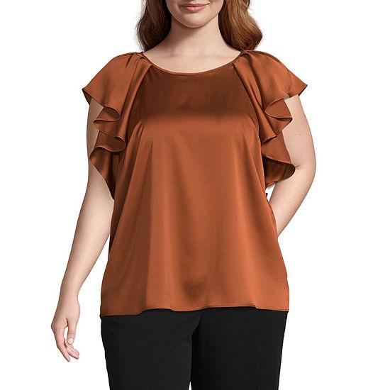 Worthington Womens Round Neck Short Sleeve Blouse-Plus