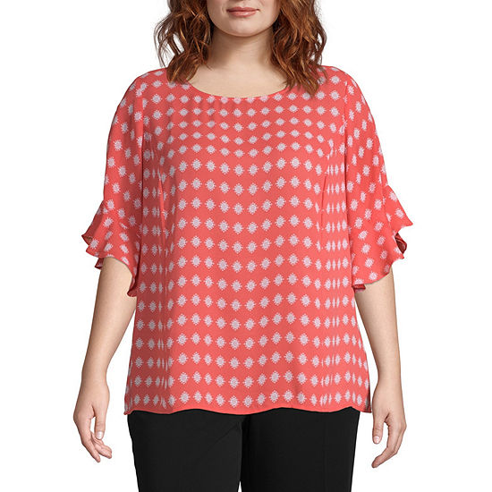 Liz Claiborne Ruffle Sleeve Popover Plus