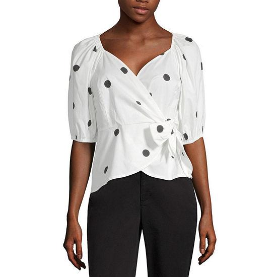 Worthington Womens V Neck Elbow Sleeve Wrap Shirt