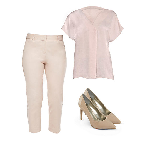 Lauren's Faves: Rose Short-Sleeved Blouse and Ankle Pant with Nude Heels